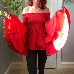 Carolina Constas Tops - Carolina Constas Red Boho Bell Sleeve Boho Blouse